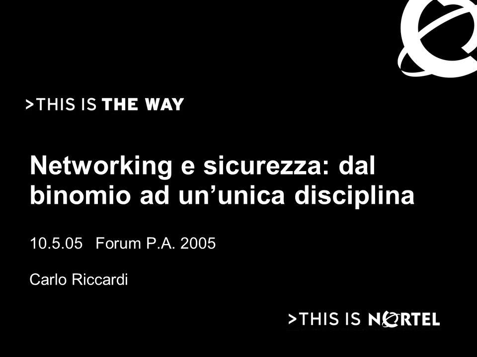 Networking e sicurezza: dal binomio ad un'unica disciplina 10.5.05 Forum P.A. 2005 Carlo Riccardi