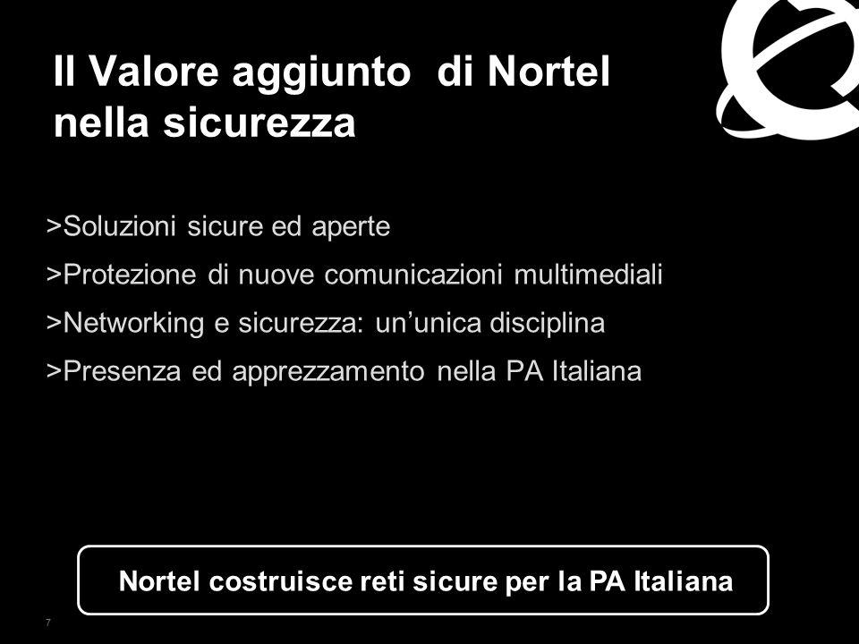 7 Il Valore aggiunto di Nortel nella sicurezza >Soluzioni sicure ed aperte >Protezione di nuove comunicazioni multimediali >Networking e sicurezza: un