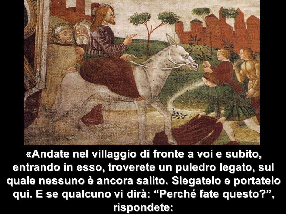 Matteo 3,1-12 «Andate nel villaggio di fronte a voi e subito, entrando in esso, troverete un puledro legato, sul quale nessuno è ancora salito. Slegat