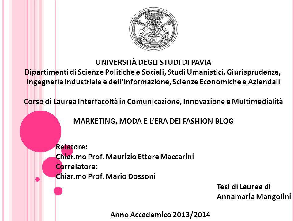 UNIVERSITÀ DEGLI STUDI DI PAVIA Dipartimenti di Scienze Politiche e Sociali, Studi Umanistici, Giurisprudenza, Ingegneria Industriale e dell'Informazi