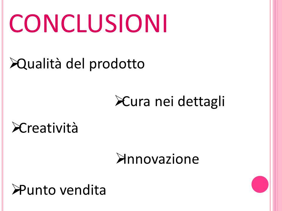 CONCLUSIONI  Qualità del prodotto  Cura nei dettagli  Creatività  Innovazione  Punto vendita