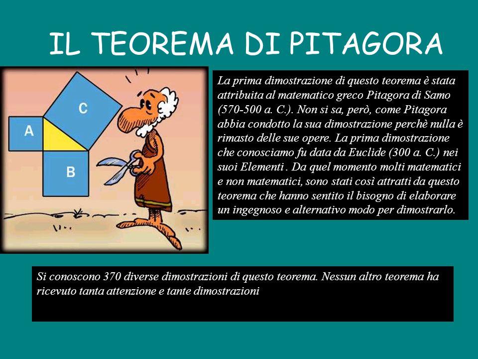 IL TEOREMA DI PITAGORA La prima dimostrazione di questo teorema è stata attribuita al matematico greco Pitagora di Samo (570-500 a.