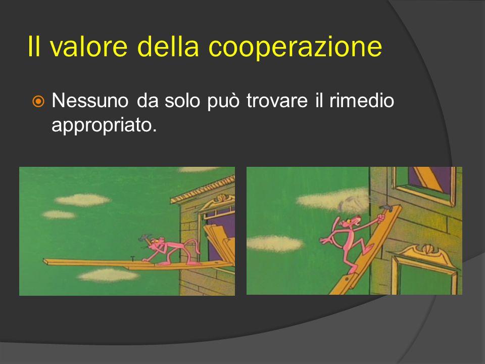 Il valore della cooperazione  Nessuno da solo può trovare il rimedio appropriato.