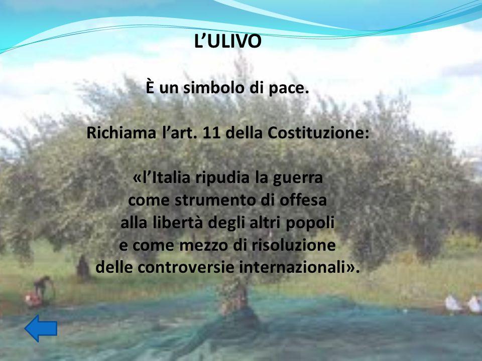 L'ULIVO È un simbolo di pace. Richiama l'art. 11 della Costituzione: «l'Italia ripudia la guerra come strumento di offesa alla libertà degli altri pop