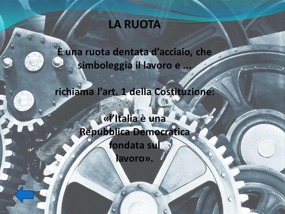 LA RUOTA È una ruota dentata d'acciaio, che simboleggia il lavoro e... richiama l'art. 1 della Costituzione: «l'Italia è una Repubblica Democratica fo