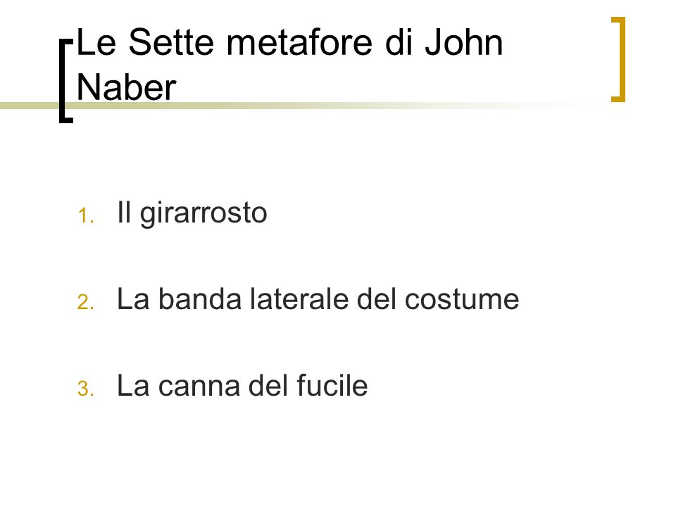 Le Sette metafore di John Naber 1.Il girarrosto 2.
