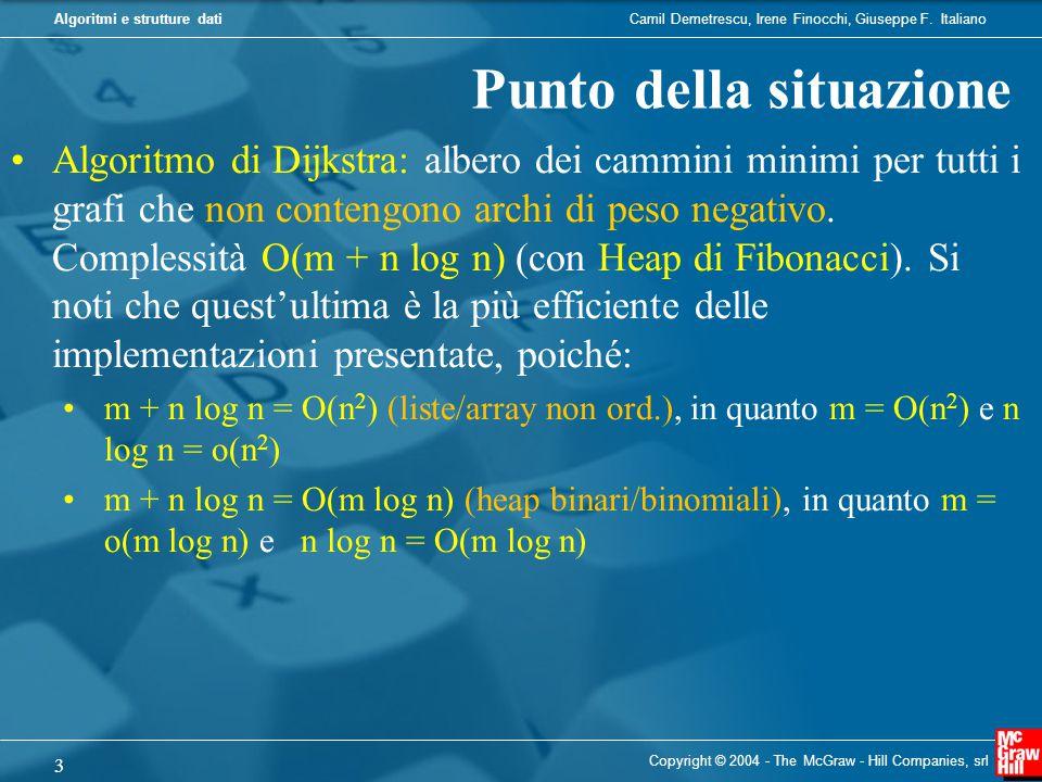 Camil Demetrescu, Irene Finocchi, Giuseppe F. ItalianoAlgoritmi e strutture dati Copyright © 2004 - The McGraw - Hill Companies, srl 3 Punto della sit