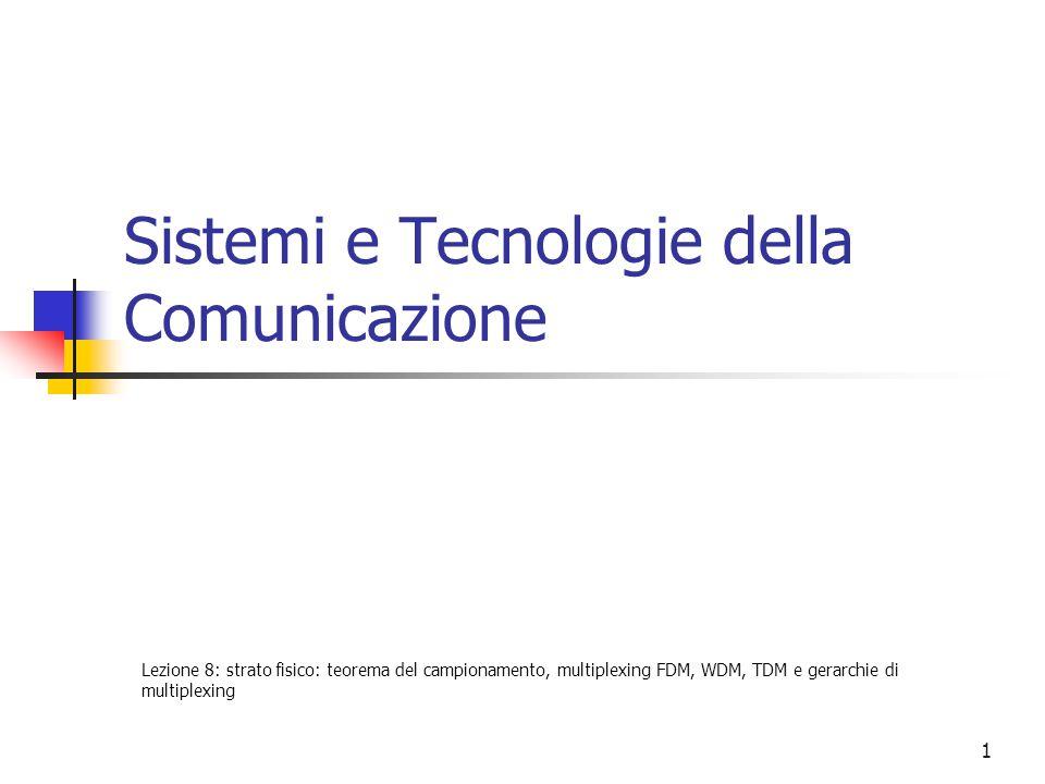 1 Sistemi e Tecnologie della Comunicazione Lezione 8: strato fisico: teorema del campionamento, multiplexing FDM, WDM, TDM e gerarchie di multiplexing