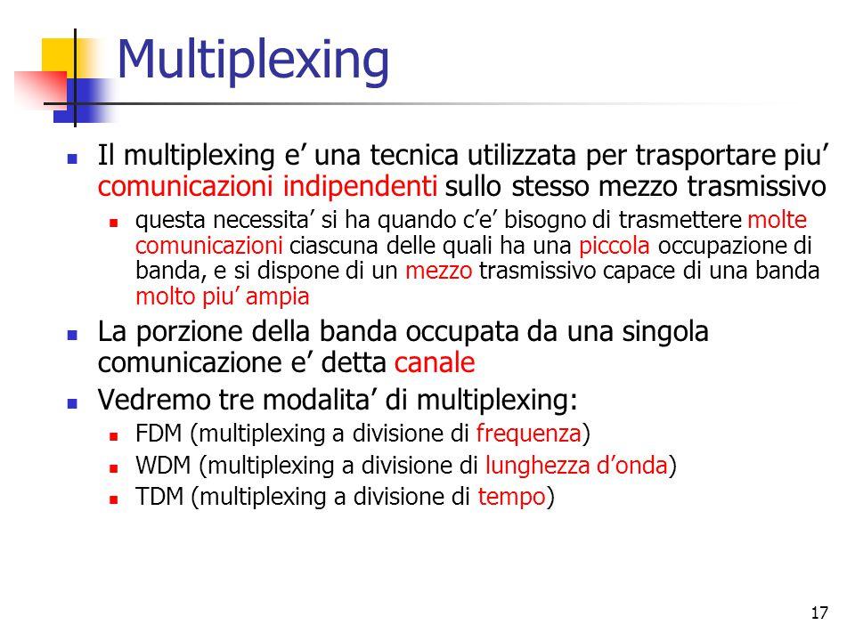 17 Multiplexing Il multiplexing e' una tecnica utilizzata per trasportare piu' comunicazioni indipendenti sullo stesso mezzo trasmissivo questa necessita' si ha quando c'e' bisogno di trasmettere molte comunicazioni ciascuna delle quali ha una piccola occupazione di banda, e si dispone di un mezzo trasmissivo capace di una banda molto piu' ampia La porzione della banda occupata da una singola comunicazione e' detta canale Vedremo tre modalita' di multiplexing: FDM (multiplexing a divisione di frequenza) WDM (multiplexing a divisione di lunghezza d'onda) TDM (multiplexing a divisione di tempo)