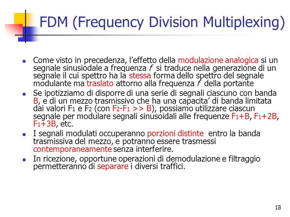 18 FDM (Frequency Division Multiplexing) Come visto in precedenza, l'effetto della modulazione analogica si un segnale sinusiodale a frequenza f si traduce nella generazione di un segnale il cui spettro ha la stessa forma dello spettro del segnale modulante ma traslato attorno alla frequenza f della portante Se ipotizziamo di disporre di una serie di segnali ciascuno con banda B, e di un mezzo trasmissivo che ha una capacita' di banda limitata dai valori F 1 e F 2 (con F 2 -F 1 >> B), possiamo utilizzare ciascun segnale per modulare segnali sinusoidali alle frequenze F 1 +B, F 1 +2B, F 1 +3B, etc.