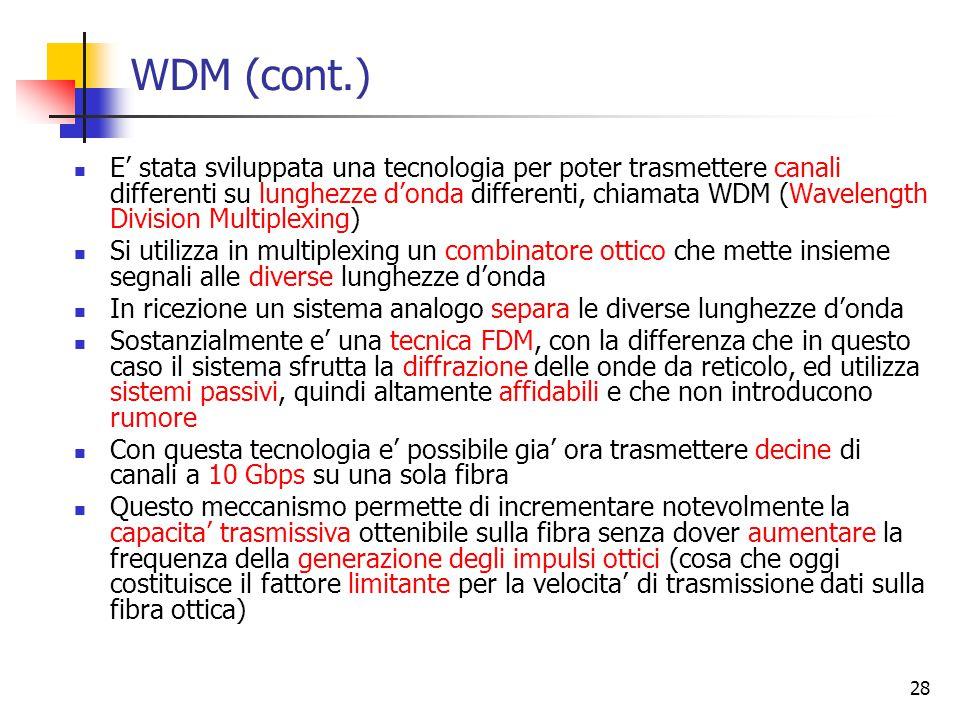 28 WDM (cont.) E' stata sviluppata una tecnologia per poter trasmettere canali differenti su lunghezze d'onda differenti, chiamata WDM (Wavelength Division Multiplexing) Si utilizza in multiplexing un combinatore ottico che mette insieme segnali alle diverse lunghezze d'onda In ricezione un sistema analogo separa le diverse lunghezze d'onda Sostanzialmente e' una tecnica FDM, con la differenza che in questo caso il sistema sfrutta la diffrazione delle onde da reticolo, ed utilizza sistemi passivi, quindi altamente affidabili e che non introducono rumore Con questa tecnologia e' possibile gia' ora trasmettere decine di canali a 10 Gbps su una sola fibra Questo meccanismo permette di incrementare notevolmente la capacita' trasmissiva ottenibile sulla fibra senza dover aumentare la frequenza della generazione degli impulsi ottici (cosa che oggi costituisce il fattore limitante per la velocita' di trasmissione dati sulla fibra ottica)
