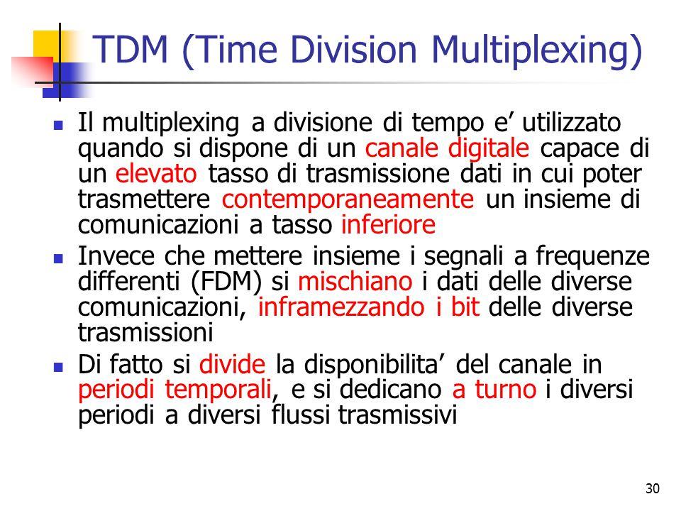30 TDM (Time Division Multiplexing) Il multiplexing a divisione di tempo e' utilizzato quando si dispone di un canale digitale capace di un elevato tasso di trasmissione dati in cui poter trasmettere contemporaneamente un insieme di comunicazioni a tasso inferiore Invece che mettere insieme i segnali a frequenze differenti (FDM) si mischiano i dati delle diverse comunicazioni, inframezzando i bit delle diverse trasmissioni Di fatto si divide la disponibilita' del canale in periodi temporali, e si dedicano a turno i diversi periodi a diversi flussi trasmissivi
