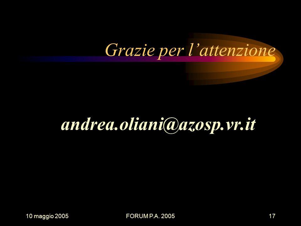 10 maggio 2005FORUM P.A. 200517 Grazie per l'attenzione andrea.oliani@azosp.vr.it