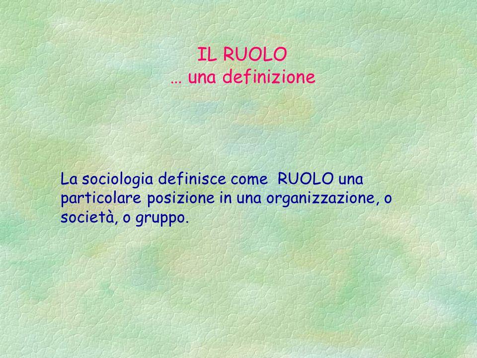 La sociologia definisce come RUOLO una particolare posizione in una organizzazione, o società, o gruppo.