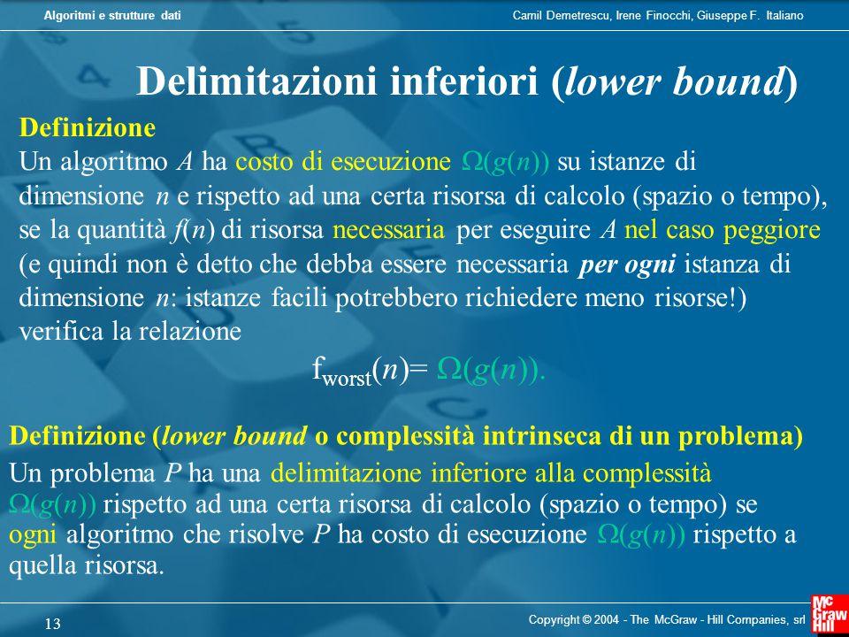 Camil Demetrescu, Irene Finocchi, Giuseppe F. ItalianoAlgoritmi e strutture dati Copyright © 2004 - The McGraw - Hill Companies, srl 13 Delimitazioni