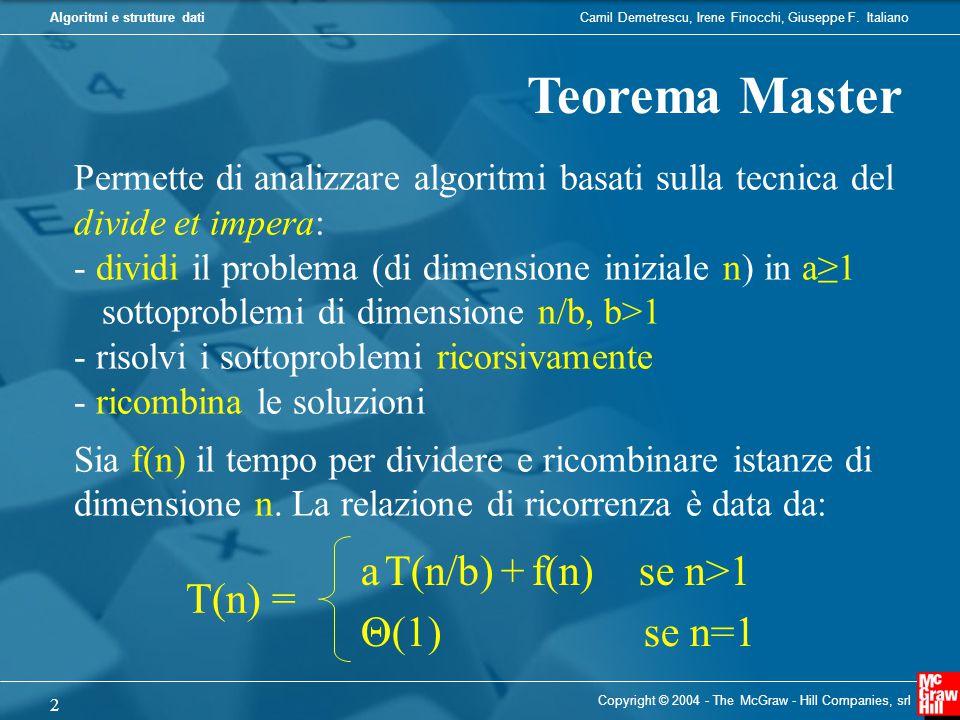 Camil Demetrescu, Irene Finocchi, Giuseppe F. ItalianoAlgoritmi e strutture dati Copyright © 2004 - The McGraw - Hill Companies, srl 2 Teorema Master