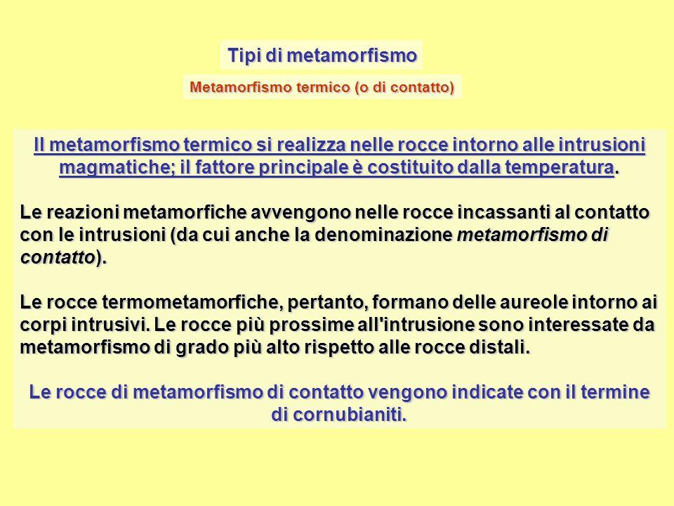 Tipi di metamorfismo Il metamorfismo termico si realizza nelle rocce intorno alle intrusioni magmatiche; il fattore principale è costituito dalla temp