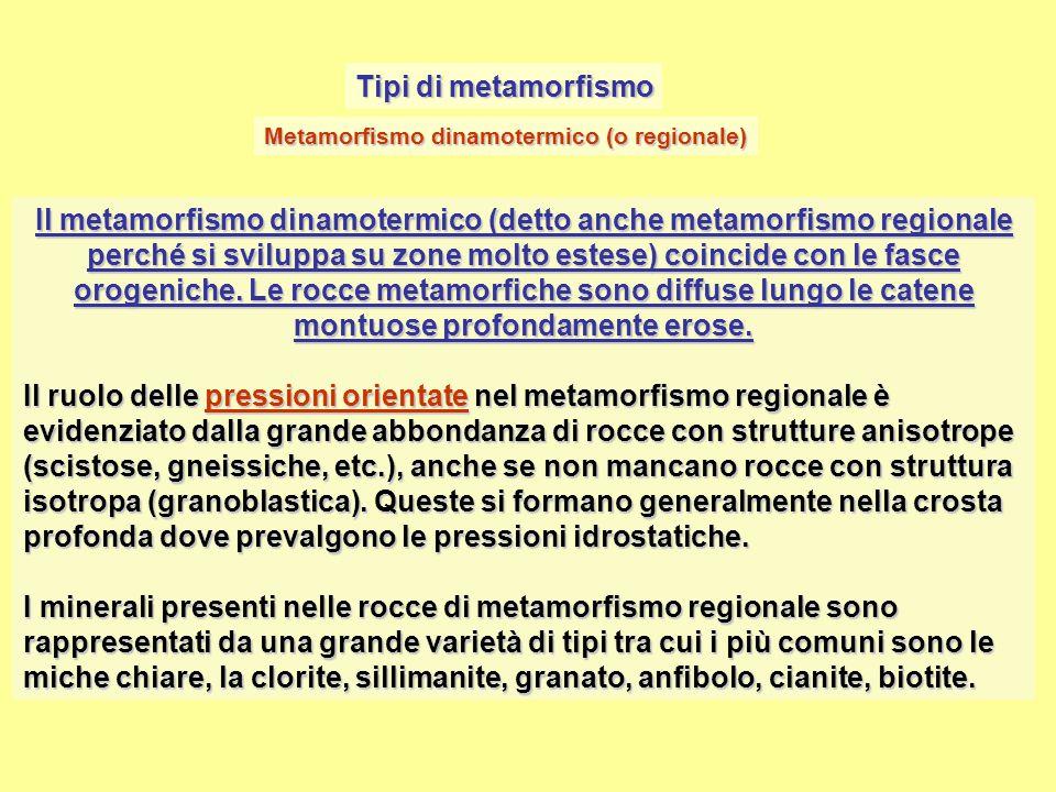 Tipi di metamorfismo Il metamorfismo dinamotermico (detto anche metamorfismo regionale perché si sviluppa su zone molto estese) coincide con le fasce