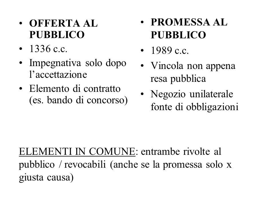 ELEMENTI IN COMUNE: entrambe rivolte al pubblico / revocabili (anche se la promessa solo x giusta causa) OFFERTA AL PUBBLICO 1336 c.c. Impegnativa sol