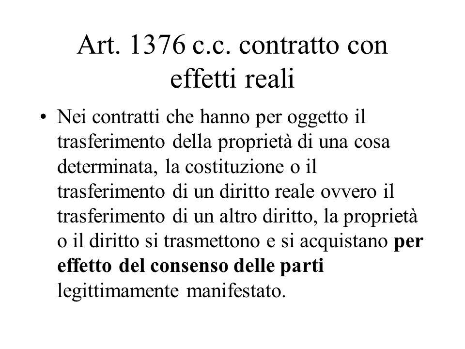 Art. 1376 c.c. contratto con effetti reali Nei contratti che hanno per oggetto il trasferimento della proprietà di una cosa determinata, la costituzio