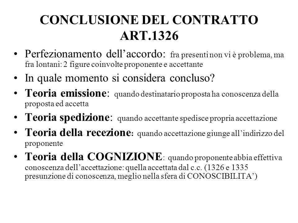 CONCLUSIONE DEL CONTRATTO ART.1326 Perfezionamento dell'accordo: fra presenti non vi è problema, ma fra lontani: 2 figure coinvolte proponente e accet