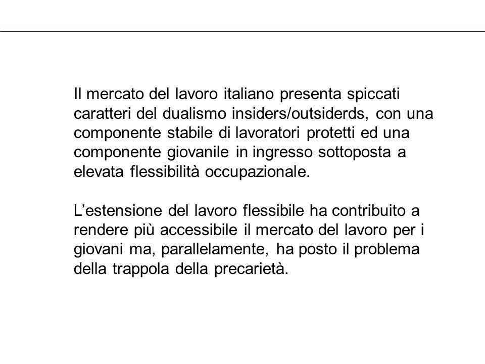 Il mercato del lavoro italiano presenta spiccati caratteri del dualismo insiders/outsiderds, con una componente stabile di lavoratori protetti ed una