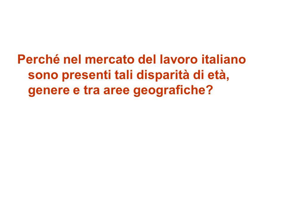 Perché nel mercato del lavoro italiano sono presenti tali disparità di età, genere e tra aree geografiche?