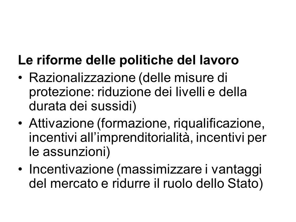 Le riforme delle politiche del lavoro Razionalizzazione (delle misure di protezione: riduzione dei livelli e della durata dei sussidi) Attivazione (fo