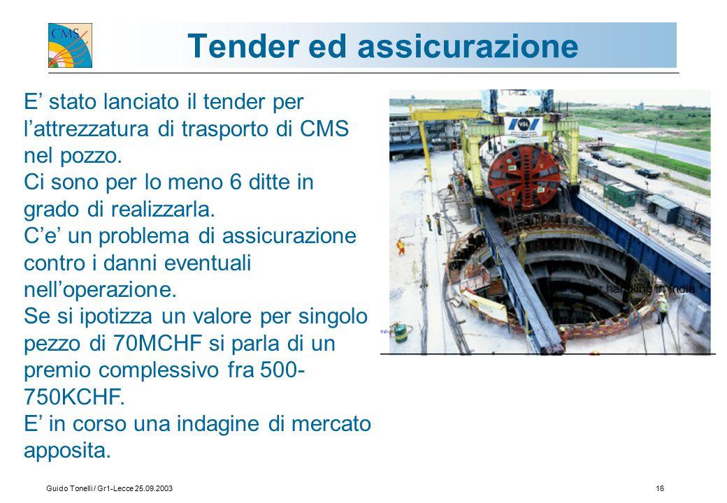 Guido Tonelli / Gr1-Lecce 25.09.200316 Tender ed assicurazione E' stato lanciato il tender per l'attrezzatura di trasporto di CMS nel pozzo.