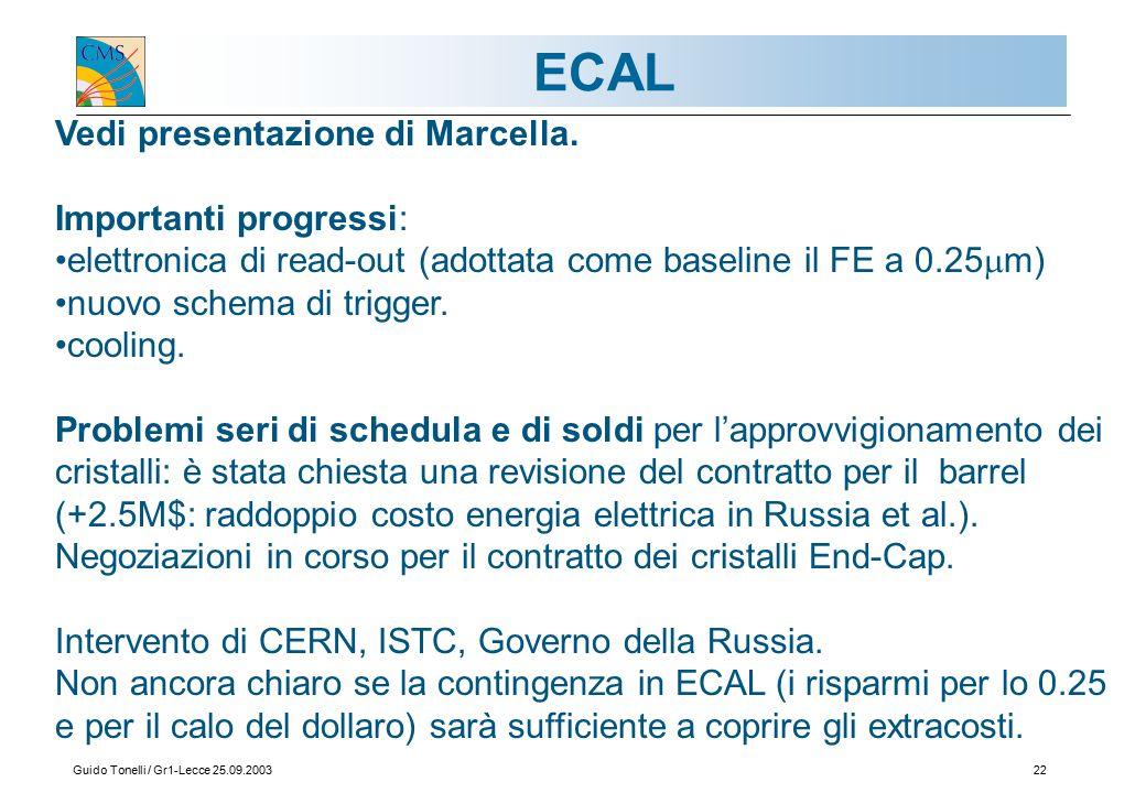 Guido Tonelli / Gr1-Lecce 25.09.200322 ECAL Vedi presentazione di Marcella.