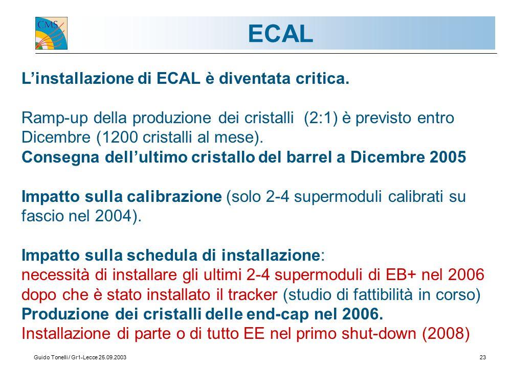 Guido Tonelli / Gr1-Lecce 25.09.200323 ECAL L'installazione di ECAL è diventata critica.