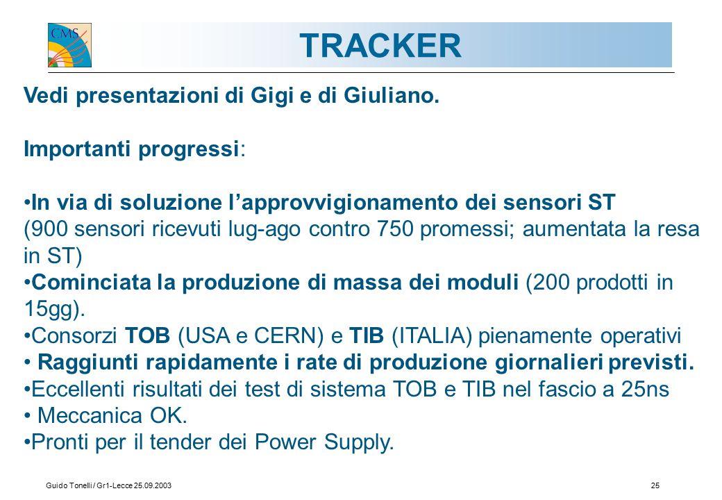 Guido Tonelli / Gr1-Lecce 25.09.200325 TRACKER Vedi presentazioni di Gigi e di Giuliano.