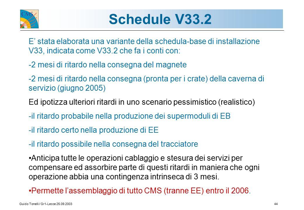 Guido Tonelli / Gr1-Lecce 25.09.200344 Schedule V33.2 E' stata elaborata una variante della schedula-base di installazione V33, indicata come V33.2 che fa i conti con: -2 mesi di ritardo nella consegna del magnete -2 mesi di ritardo nella consegna (pronta per i crate) della caverna di servizio (giugno 2005) Ed ipotizza ulteriori ritardi in uno scenario pessimistico (realistico) -il ritardo probabile nella produzione dei supermoduli di EB -il ritardo certo nella produzione di EE -il ritardo possibile nella consegna del tracciatore Anticipa tutte le operazioni cablaggio e stesura dei servizi per compensare ed assorbire parte di questi ritardi in maniera che ogni operazione abbia una contingenza intrinseca di 3 mesi.