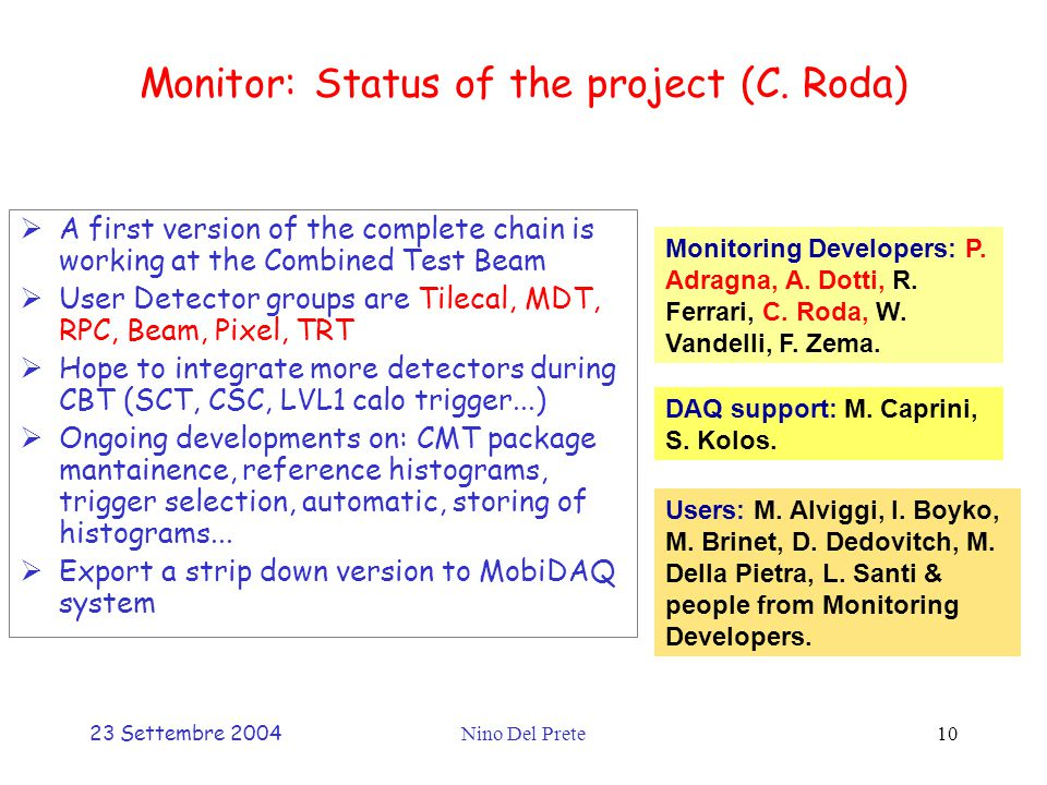 23 Settembre 2004Nino Del Prete10 Monitor: Status of the project (C.