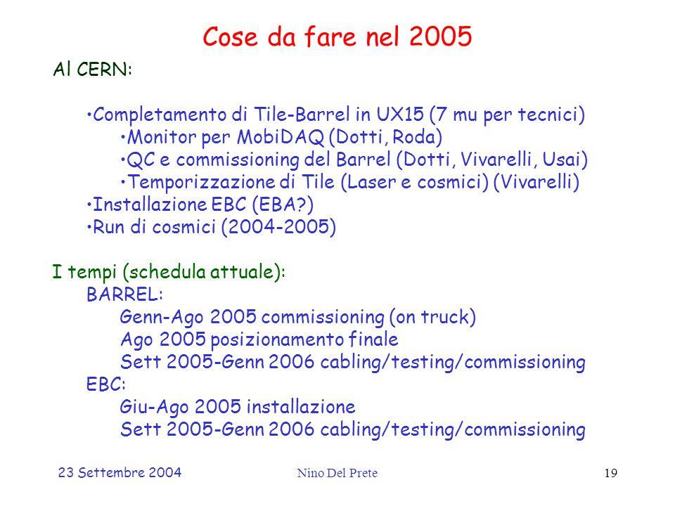 23 Settembre 2004Nino Del Prete19 Cose da fare nel 2005 Al CERN: Completamento di Tile-Barrel in UX15 (7 mu per tecnici) Monitor per MobiDAQ (Dotti, Roda) QC e commissioning del Barrel (Dotti, Vivarelli, Usai) Temporizzazione di Tile (Laser e cosmici) (Vivarelli) Installazione EBC (EBA?) Run di cosmici (2004-2005) I tempi (schedula attuale): BARREL: Genn-Ago 2005 commissioning (on truck) Ago 2005 posizionamento finale Sett 2005-Genn 2006 cabling/testing/commissioning EBC: Giu-Ago 2005 installazione Sett 2005-Genn 2006 cabling/testing/commissioning