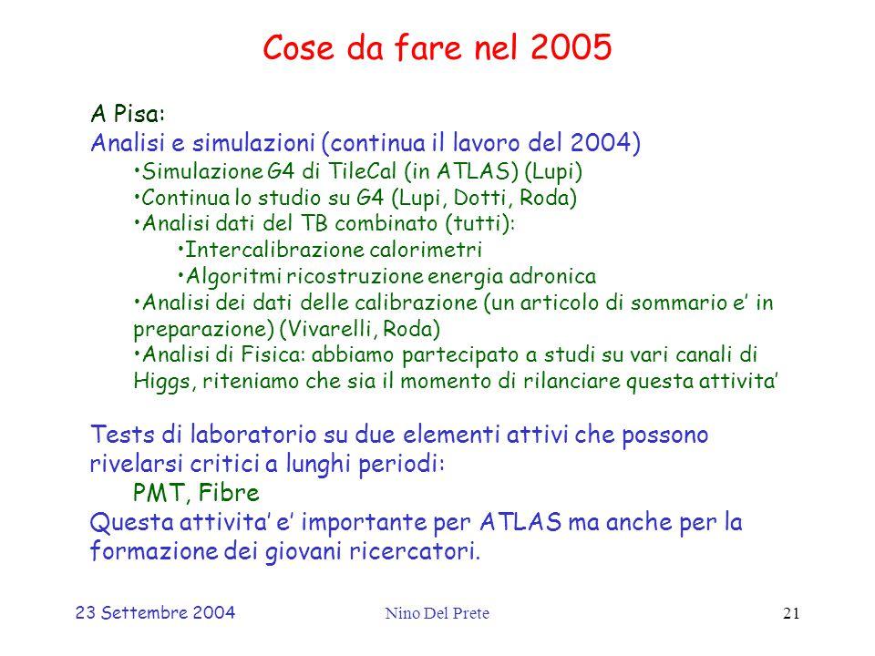 23 Settembre 2004Nino Del Prete21 Cose da fare nel 2005 A Pisa: Analisi e simulazioni (continua il lavoro del 2004) Simulazione G4 di TileCal (in ATLAS) (Lupi) Continua lo studio su G4 (Lupi, Dotti, Roda) Analisi dati del TB combinato (tutti): Intercalibrazione calorimetri Algoritmi ricostruzione energia adronica Analisi dei dati delle calibrazione (un articolo di sommario e' in preparazione) (Vivarelli, Roda) Analisi di Fisica: abbiamo partecipato a studi su vari canali di Higgs, riteniamo che sia il momento di rilanciare questa attivita' Tests di laboratorio su due elementi attivi che possono rivelarsi critici a lunghi periodi: PMT, Fibre Questa attivita' e' importante per ATLAS ma anche per la formazione dei giovani ricercatori.