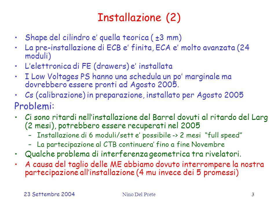 23 Settembre 2004Nino Del Prete3 Installazione (2) Shape del cilindro e' quella teorica ( ±3 mm) La pre-installazione di ECB e' finita, ECA e' molto avanzata (24 moduli) L'elettronica di FE (drawers) e' installata I Low Voltages PS hanno una schedula un po' marginale ma dovrebbero essere pronti ad Agosto 2005.