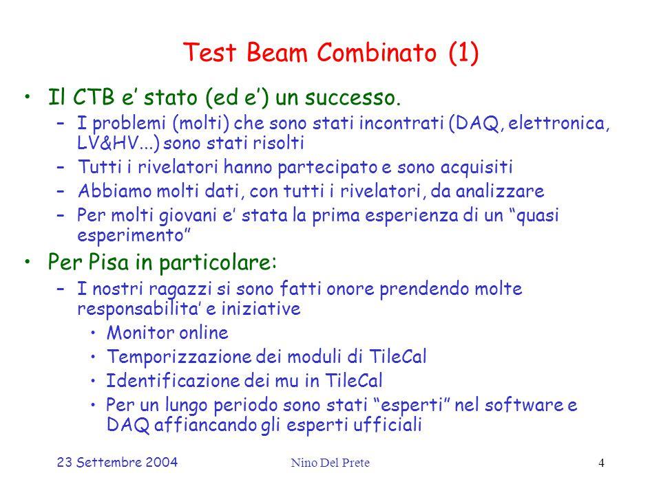 23 Settembre 2004Nino Del Prete4 Test Beam Combinato (1) Il CTB e' stato (ed e') un successo.