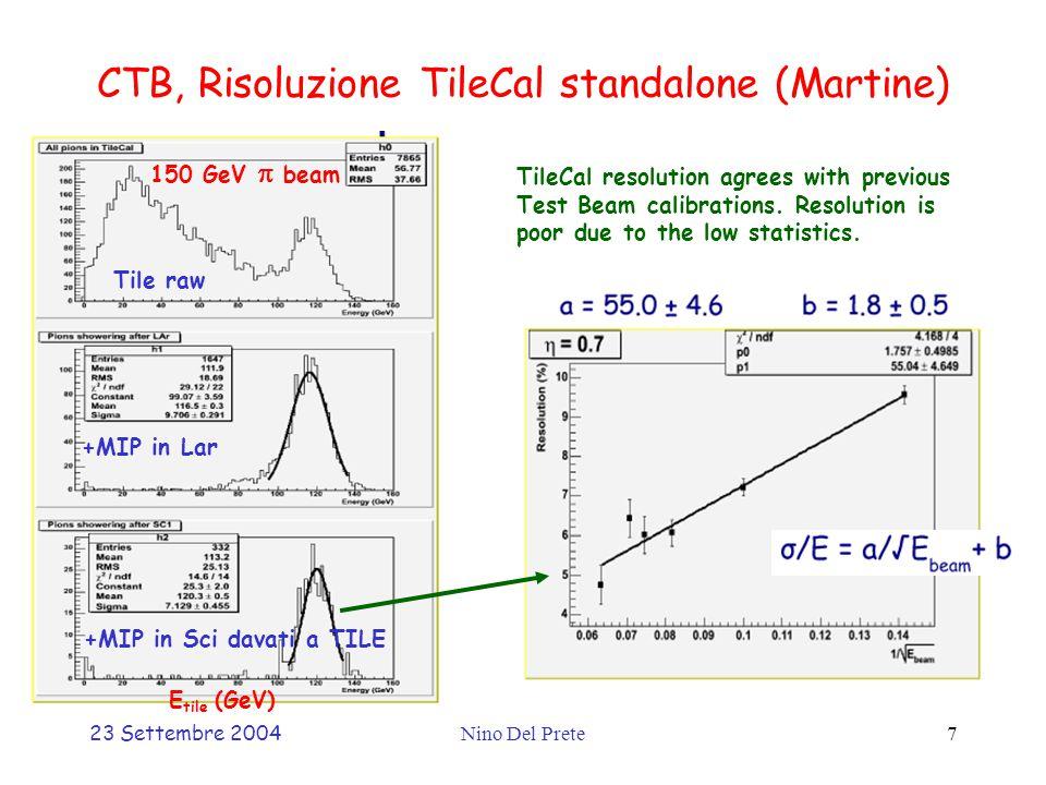 23 Settembre 2004Nino Del Prete7 CTB, Risoluzione TileCal standalone (Martine) Tile raw +MIP in Lar +MIP in Sci davati a TILE TileCal resolution agrees with previous Test Beam calibrations.