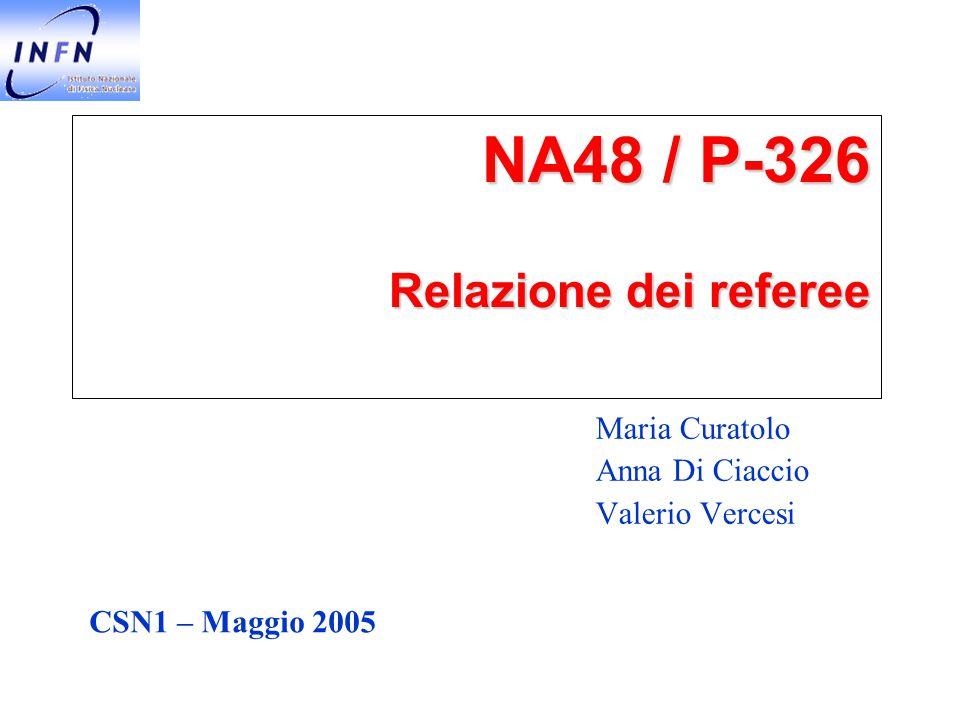 NA48 / P-326 Relazione dei referee Maria Curatolo Anna Di Ciaccio Valerio Vercesi CSN1 – Maggio 2005