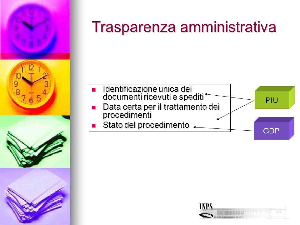 Trasparenza amministrativa Identificazione unica dei documenti ricevuti e spediti Identificazione unica dei documenti ricevuti e spediti Data certa pe