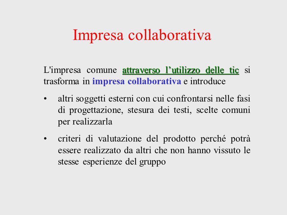 Impresa collaborativa attraverso l'utilizzo delle tic L'impresa comune attraverso l'utilizzo delle tic si trasforma in impresa collaborativa e introdu