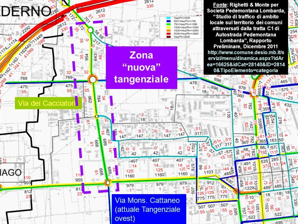 """Via dei Cacciatori Zona """"nuova"""" tangenziale Fonte: Righetti & Monte per Società Pedemontana Lombarda, """"Studio di traffico di ambito locale sul territo"""