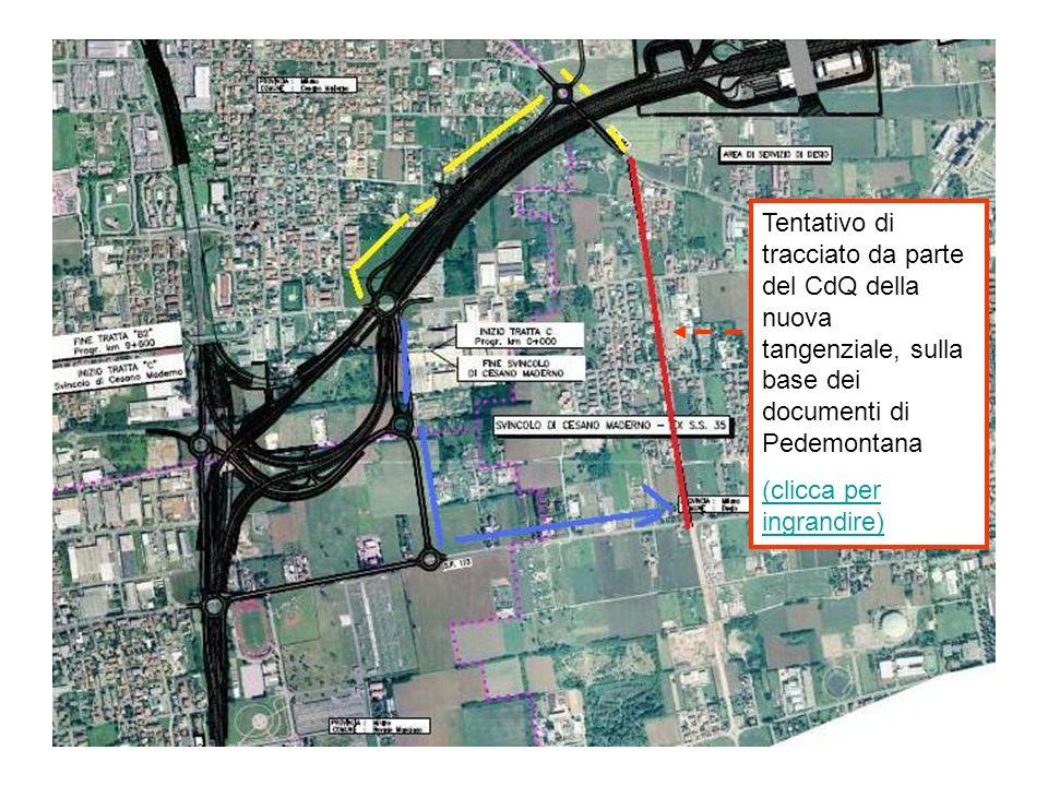 Tentativo di tracciato da parte del CdQ della nuova tangenziale, sulla base dei documenti di Pedemontana (clicca per ingrandire)