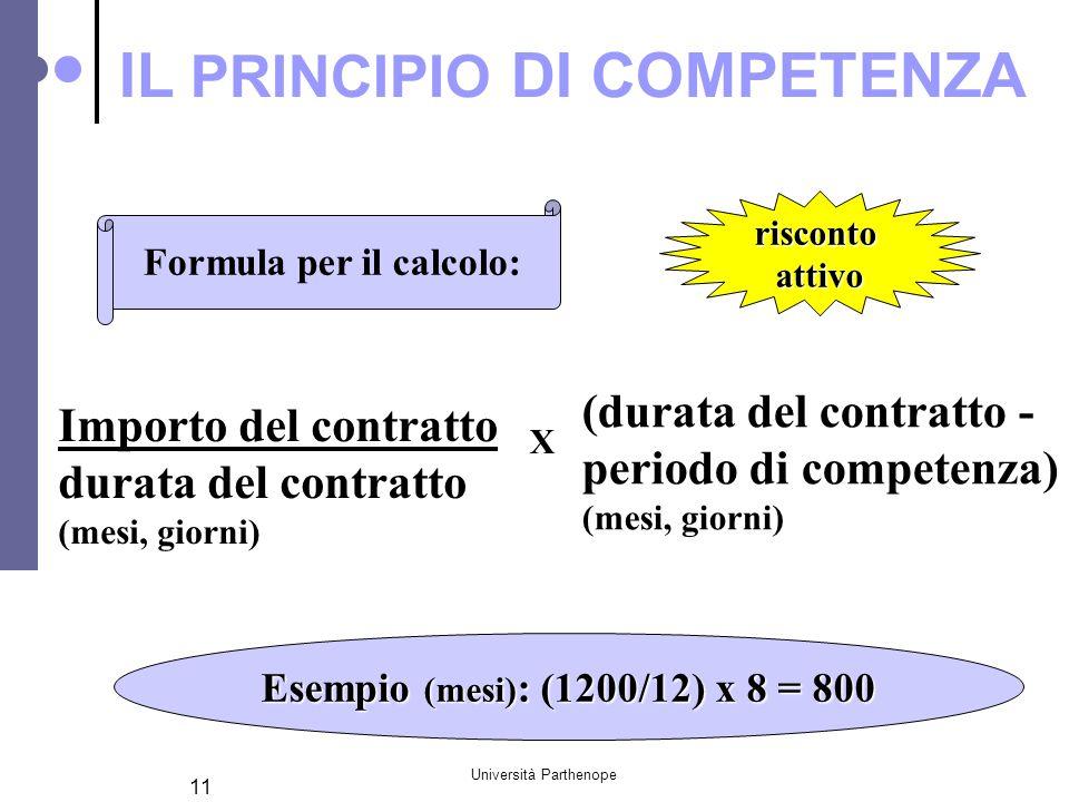 Università Parthenope 11 Formula per il calcolo: Importo del contratto durata del contratto (mesi, giorni) (durata del contratto - periodo di competen