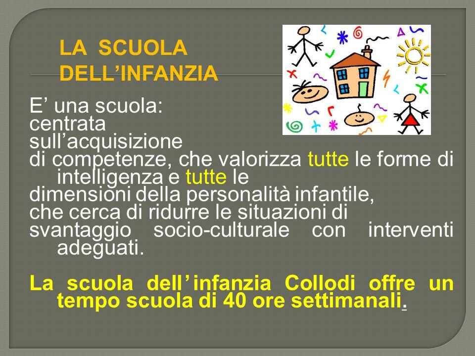 E' una scuola: centrata sull'acquisizione di competenze, che valorizza tutte le forme di intelligenza e tutte le dimensioni della personalità infantil