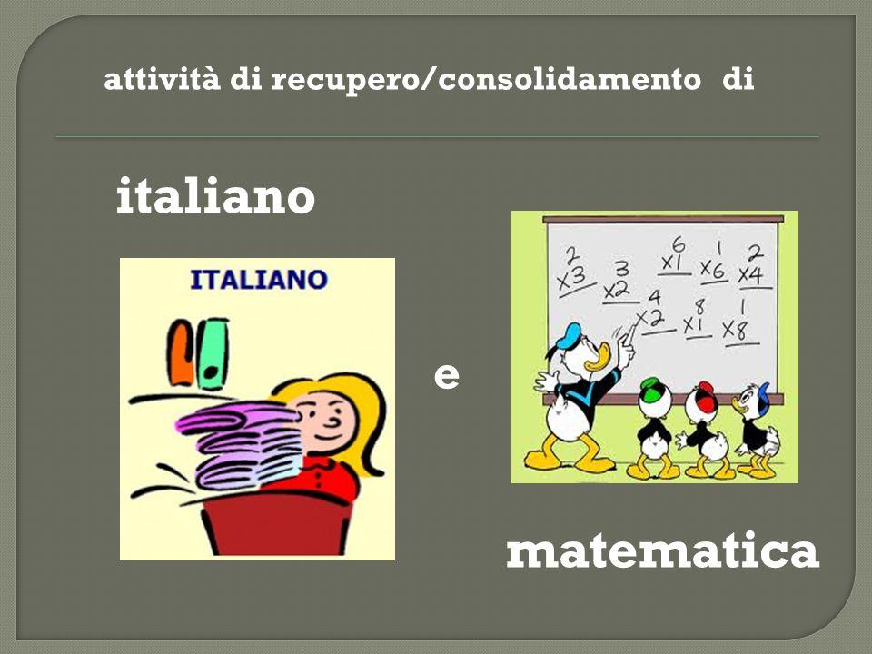 attività di recupero/consolidamento di italiano e matematica