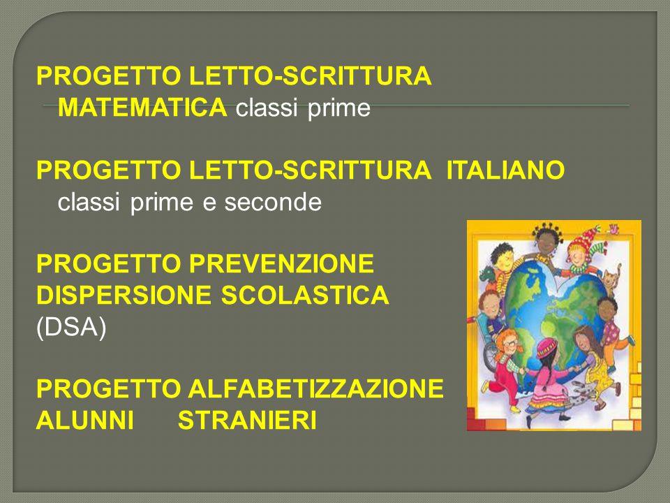 PROGETTO LETTO-SCRITTURA MATEMATICA classi prime PROGETTO LETTO-SCRITTURA ITALIANO classi prime e seconde PROGETTO PREVENZIONE DISPERSIONE SCOLASTICA