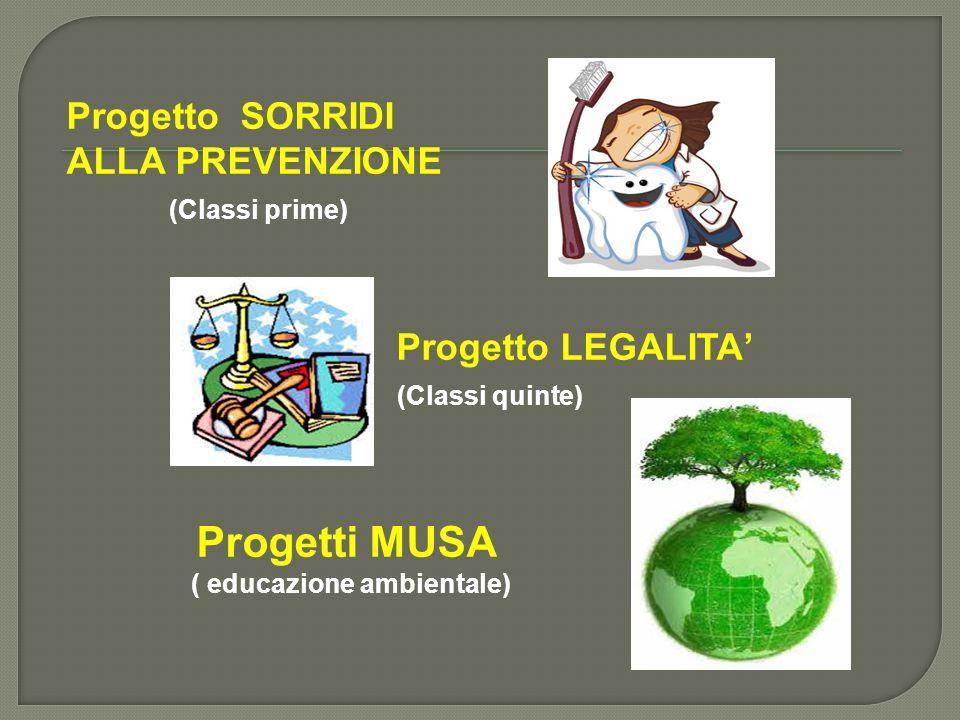 Progetto SORRIDI ALLA PREVENZIONE (Classi prime) Progetto LEGALITA' (Classi quinte) Progetti MUSA ( educazione ambientale)
