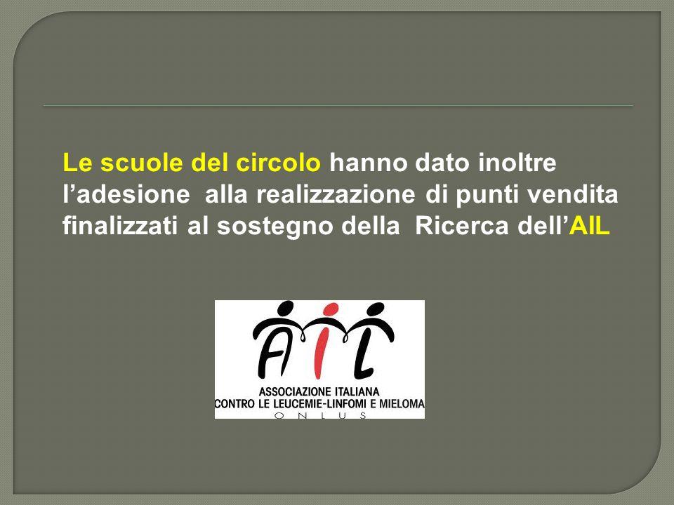 Le scuole del circolo hanno dato inoltre l'adesione alla realizzazione di punti vendita finalizzati al sostegno della Ricerca dell'AIL